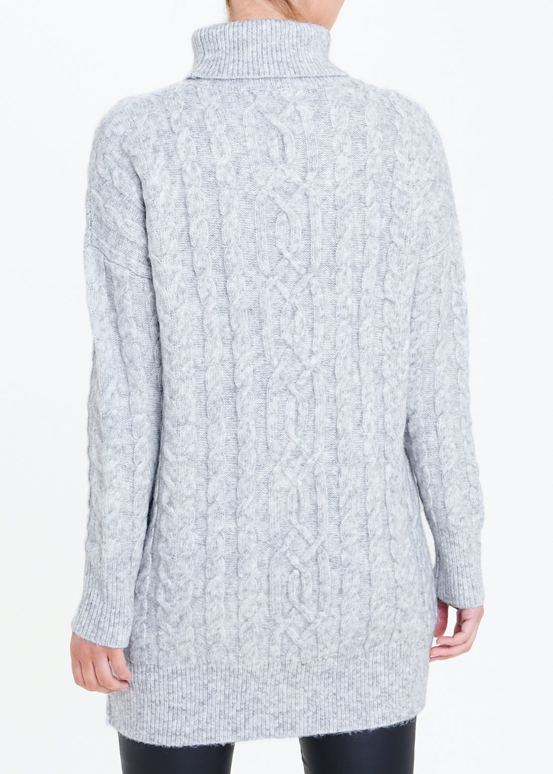 Roll Neck Cable Knit Tunic Jumper