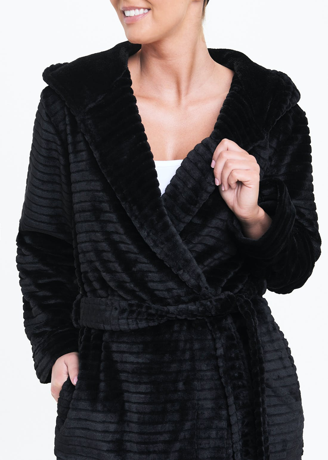 Ribbed Fleece Dressing Gown