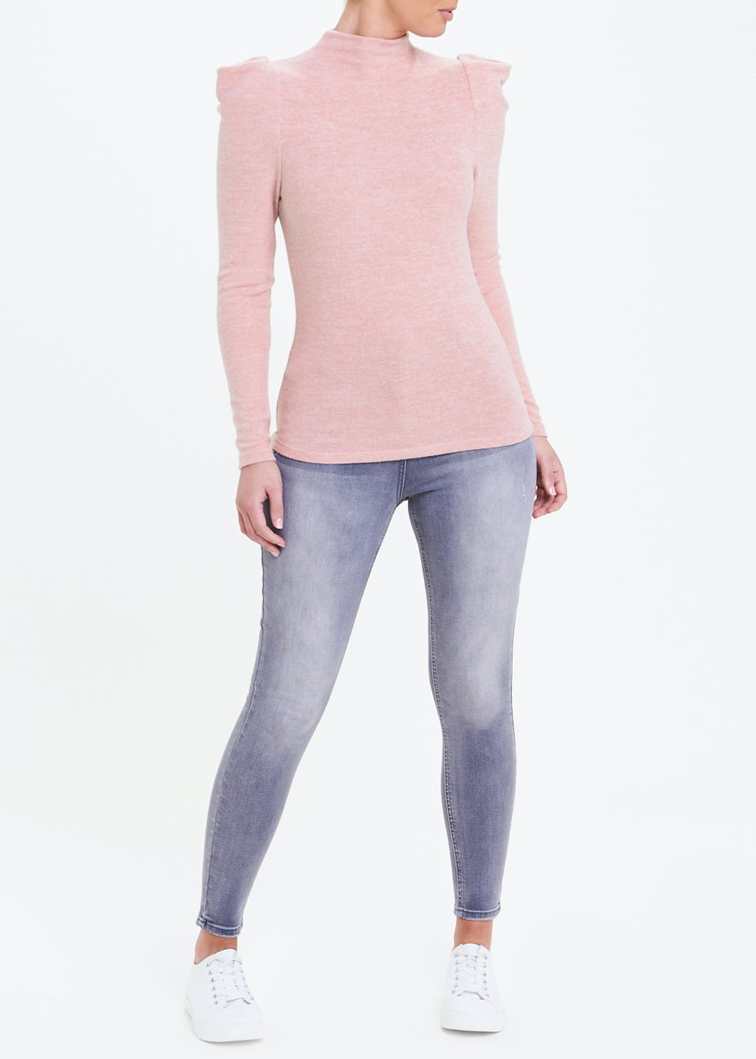 Gathered Sleeve Funnel Neck Top
