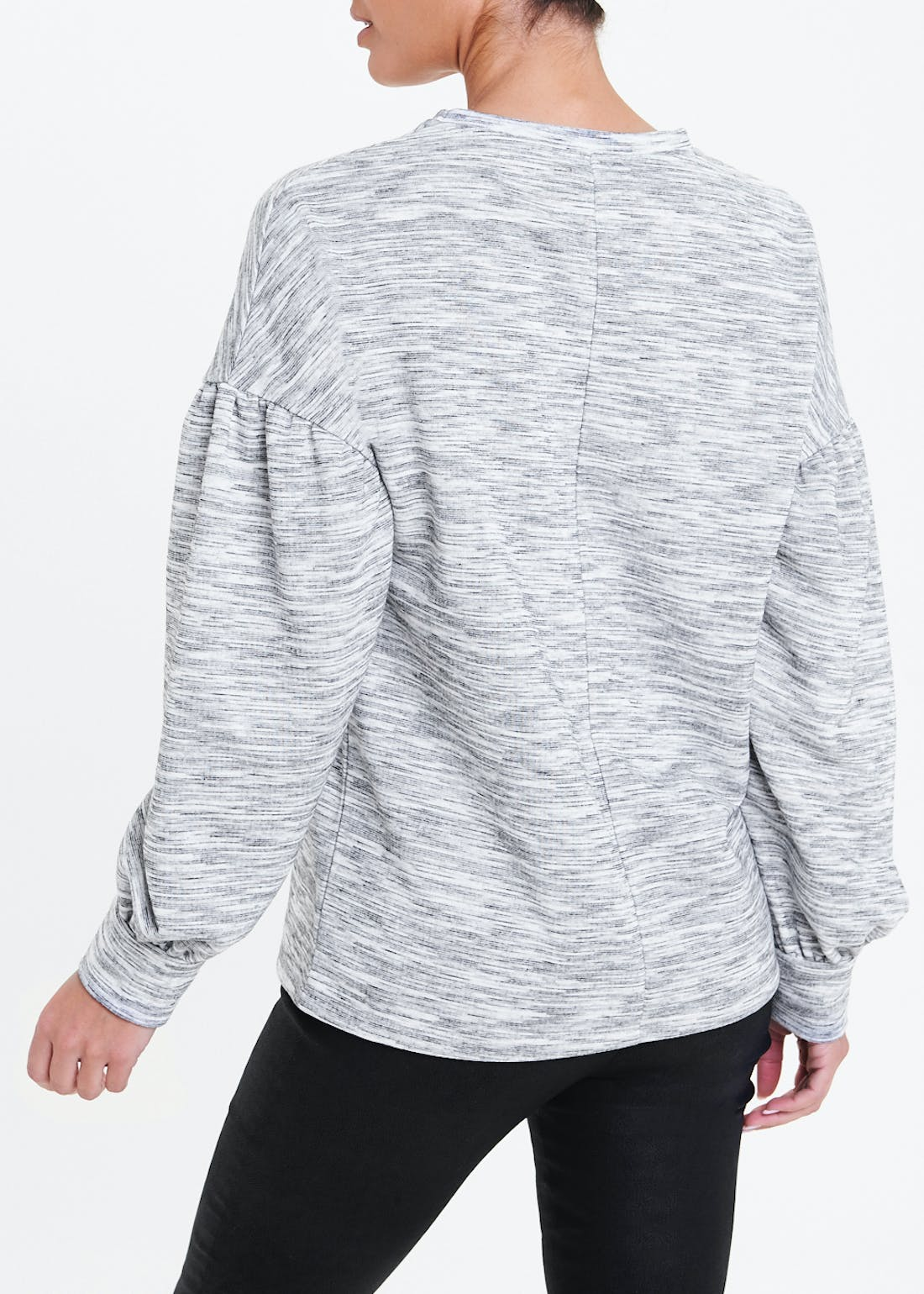 Space Dye Puff Sleeve Sweatshirt