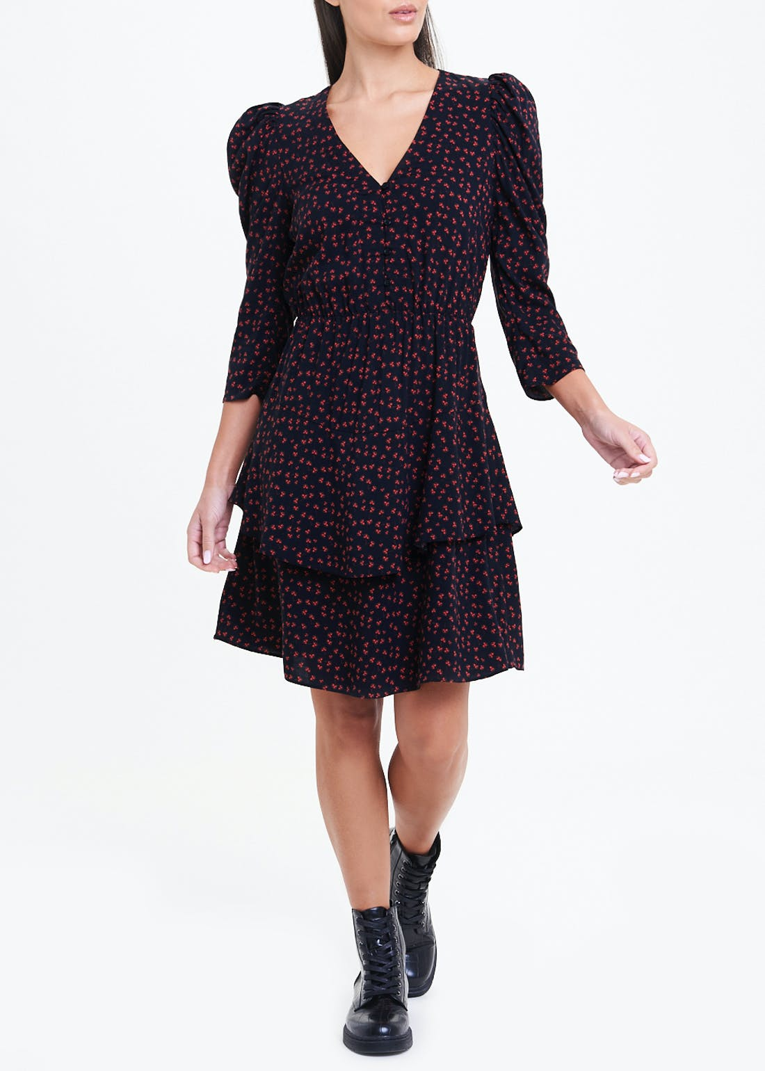 Black Ruched Sleeve Floral Mini Dress