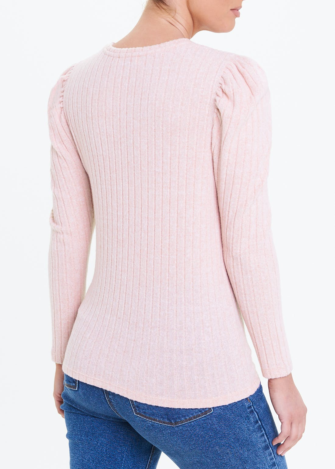 Ribbed Puff Sleeve Soft Touch Top