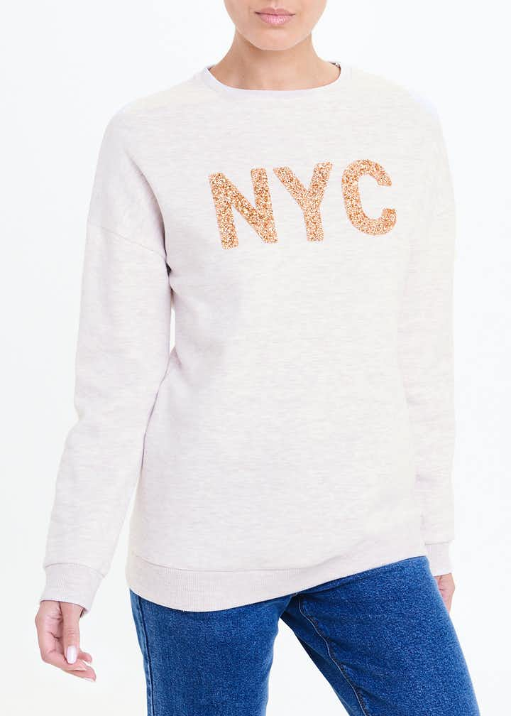 Longline NYC Sequin Sweatshirt