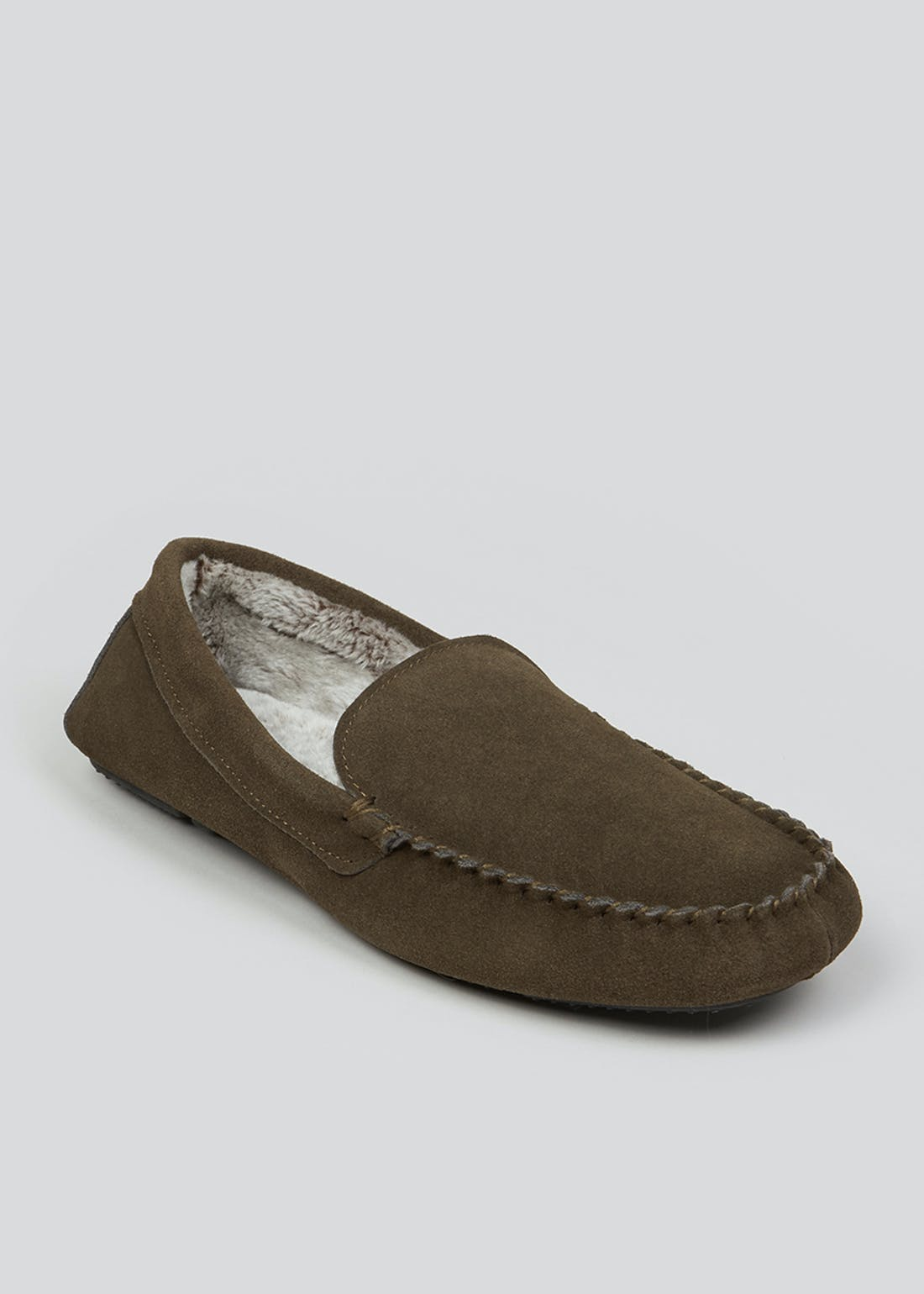 Khaki Real Suede Moccasin Slippers