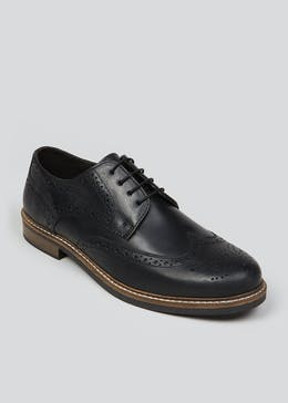 Black Leather Waxy Brogue Shoes