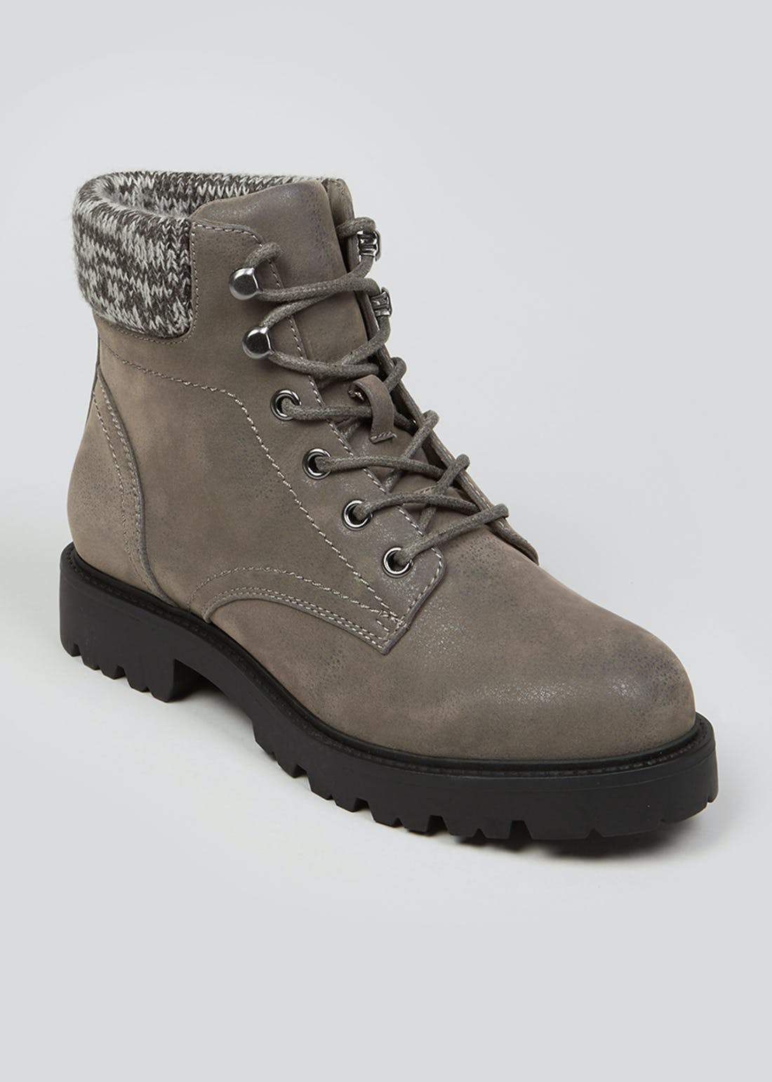 Grey Knitted Collar Ankle Boots