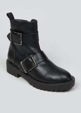 Black Diamante Buckle Ankle Boots