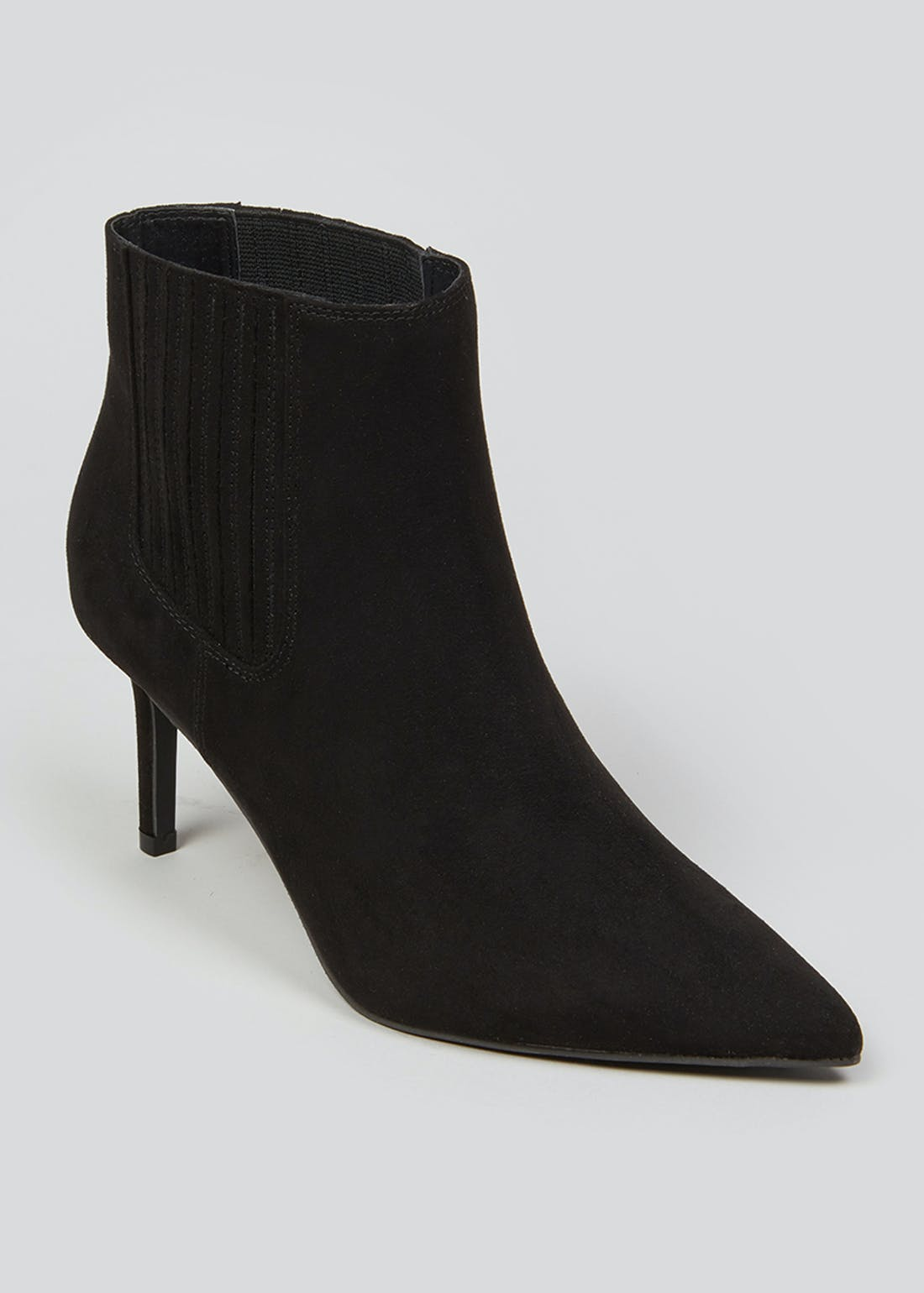 Black Pointed Mid Heel Boots