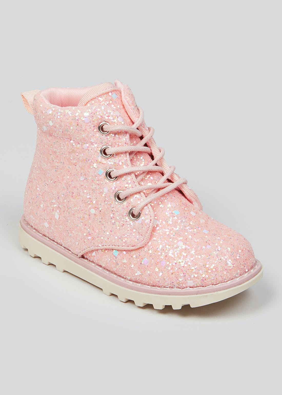 Girls Pink Glitter Ankle Boots (Younger 4-12)