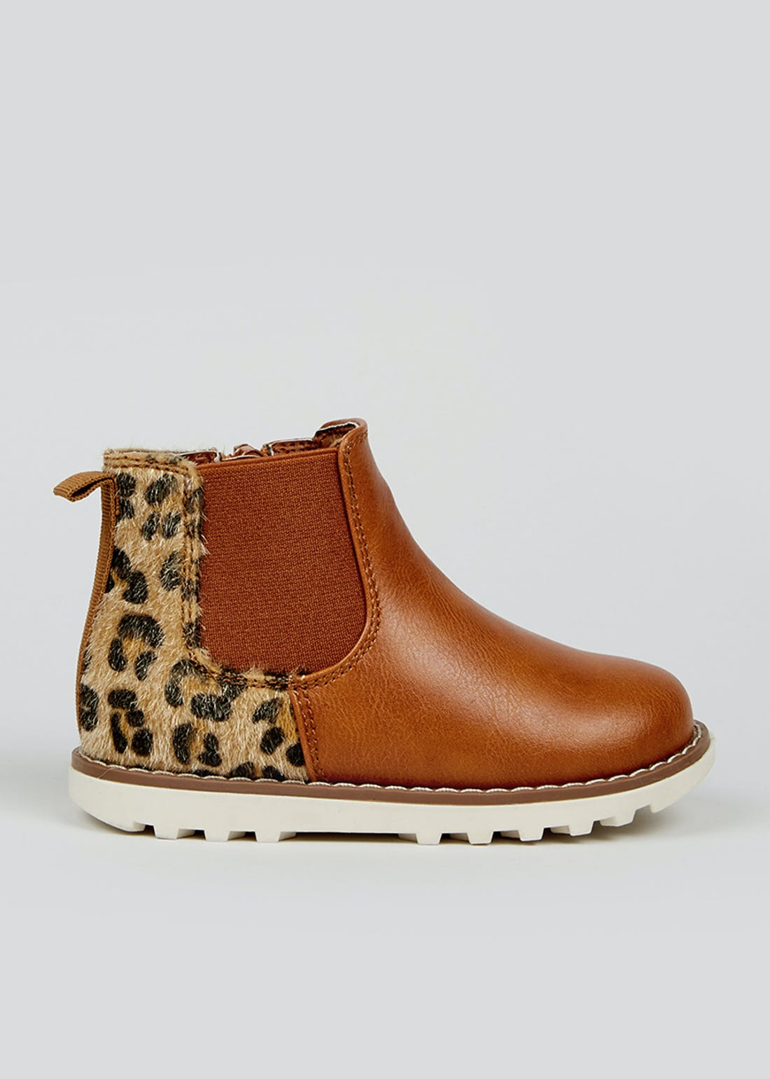 Girls Tan Leopard Print Chelsea Boots (Younger 4-12)