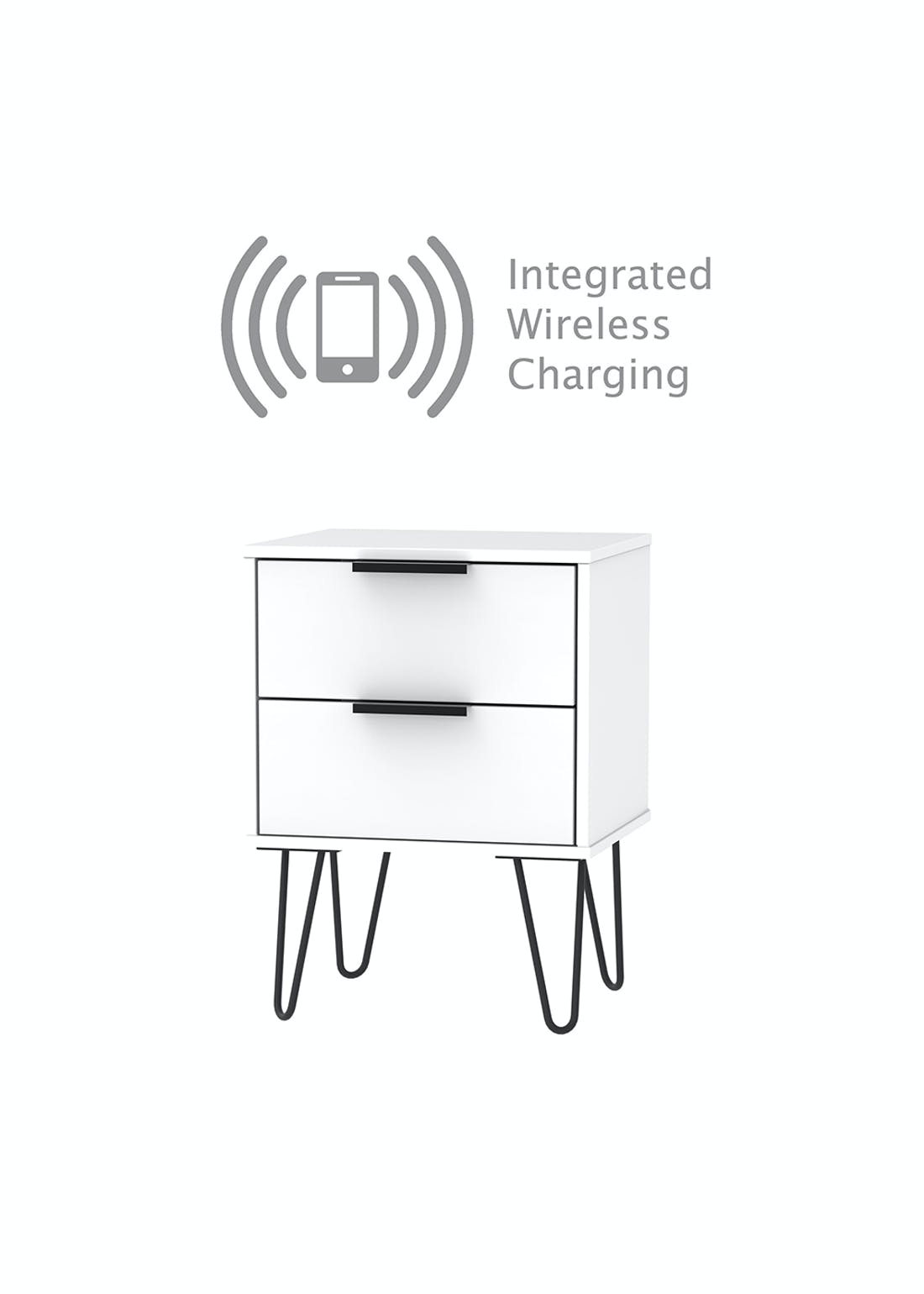 Swift Milano Wireless Charging Bedside Table (57cm x 45cm x 39.5cm)