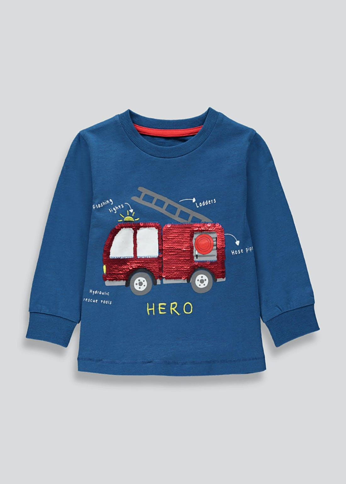 Boys Long Sleeve Flippy Sequin Fire Engine T-Shirt (9mths-6yrs)