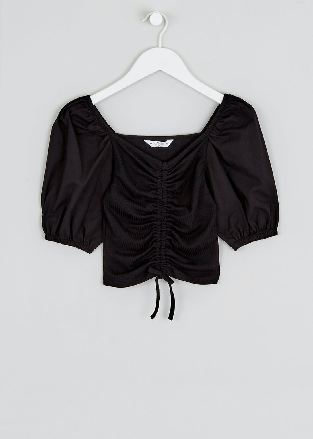 Girls Candy Couture Puff Sleeve Ruched Top (9-16yrs)