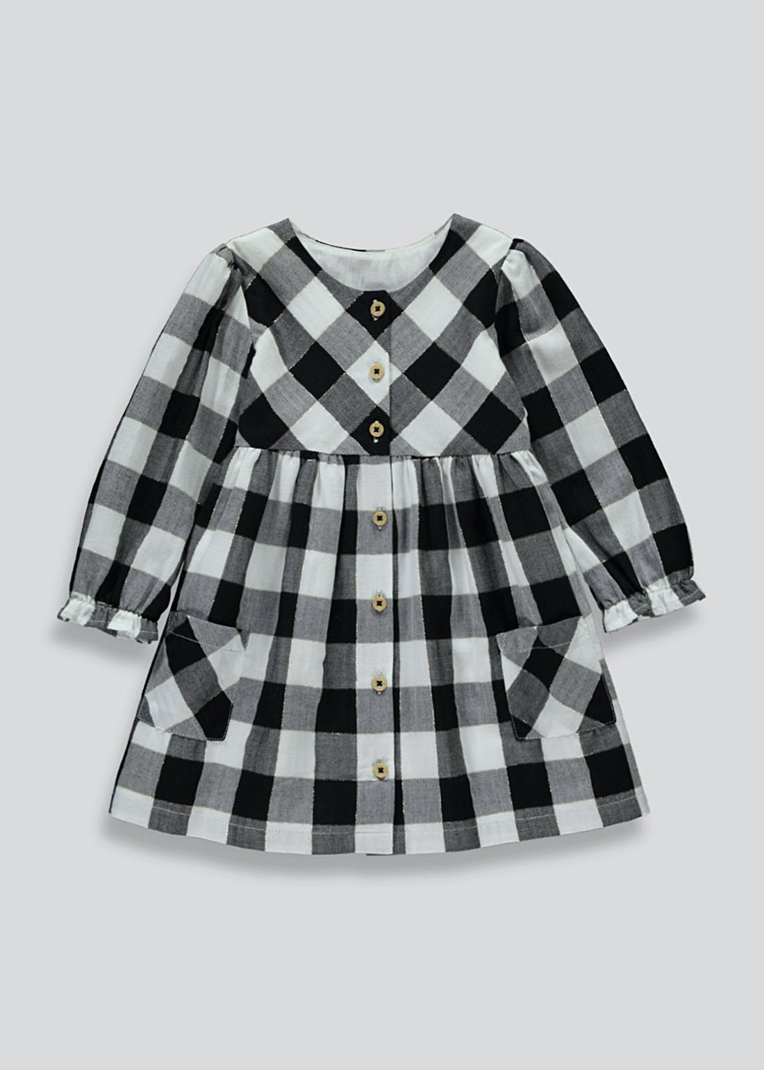 Girls Long Sleeve Sparkle Check Dress (9mths-6yrs)