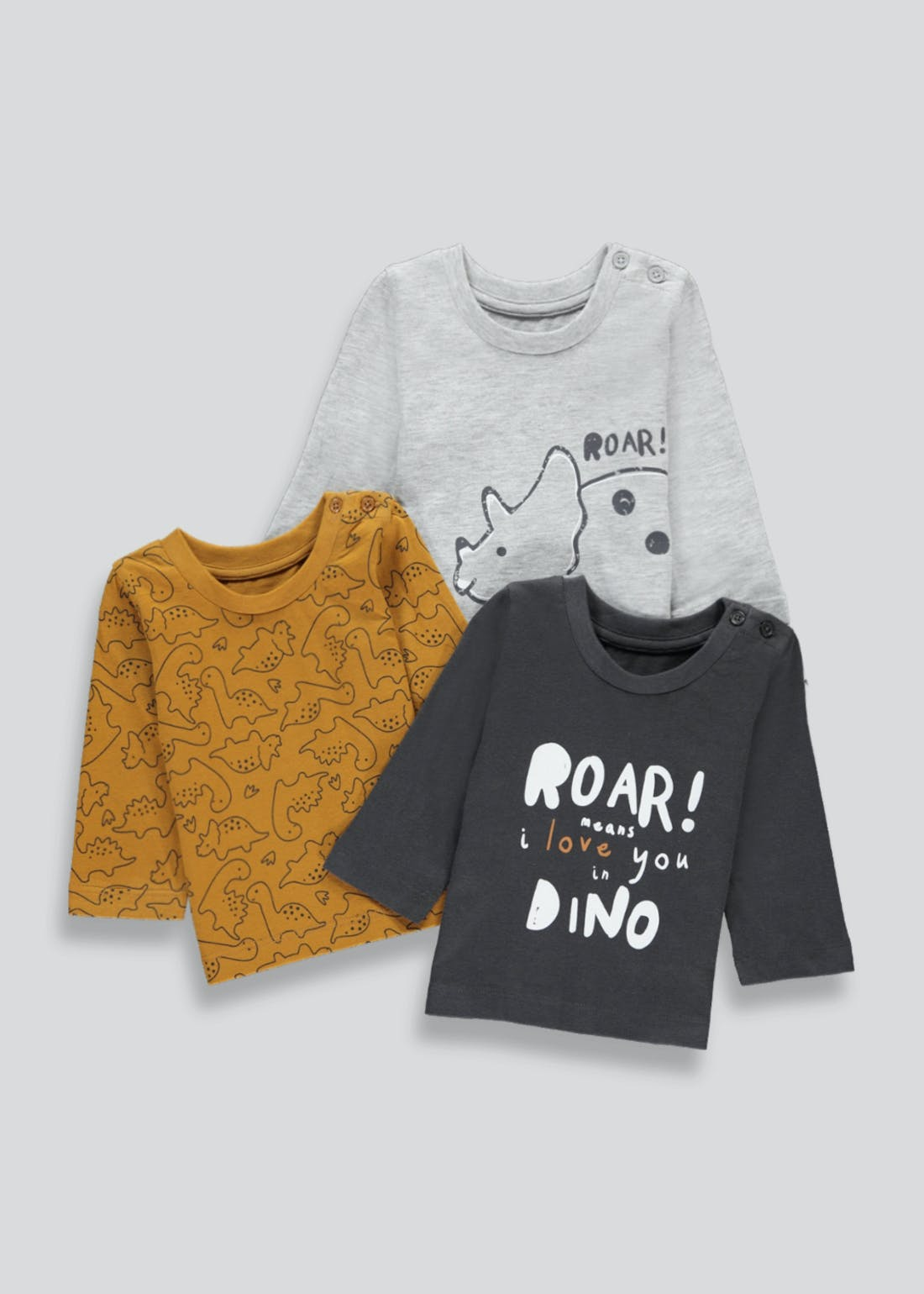 Boys 3 Pack Long Sleeve Dinosaur T-Shirts (Newborn-23mths)