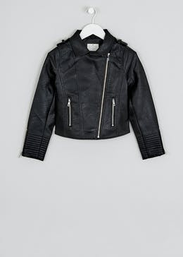 Girls Candy Couture Black Faux Leather Jacket (9-16yrs)