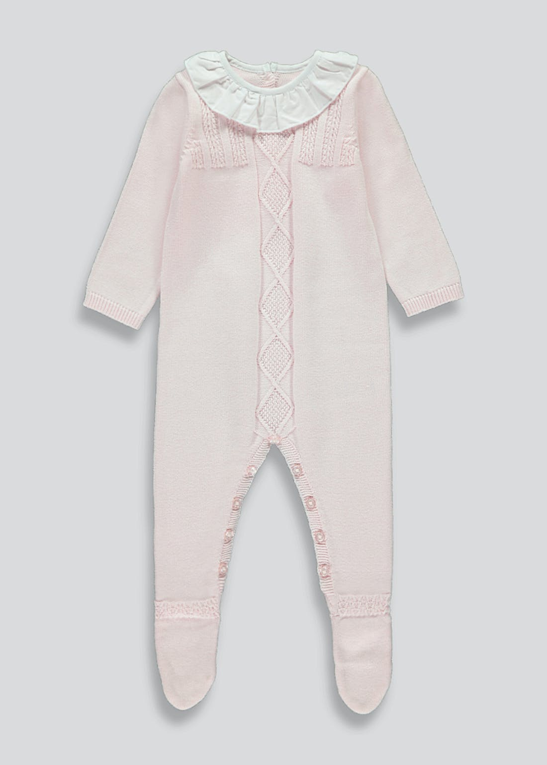 Girls Knitted Frill Neck Romper (Tiny Baby-18mths)