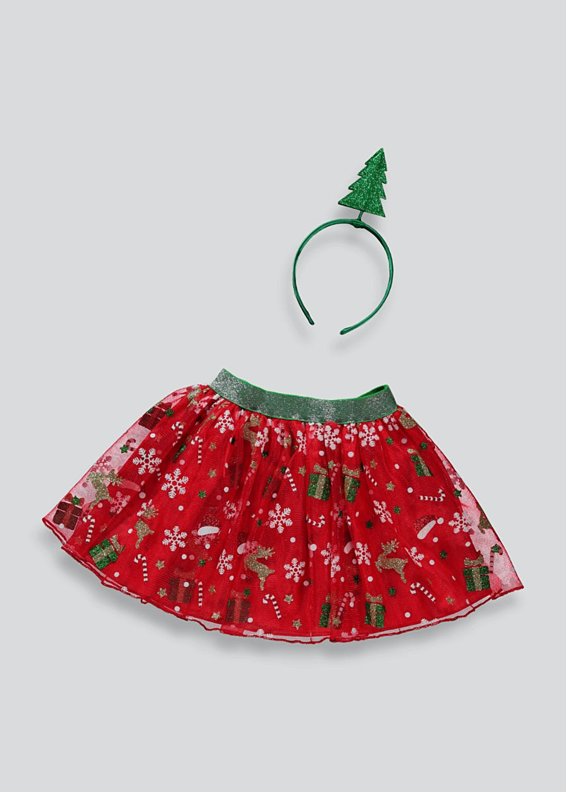 Girls Christmas Tutu & Headband Set (One Size)