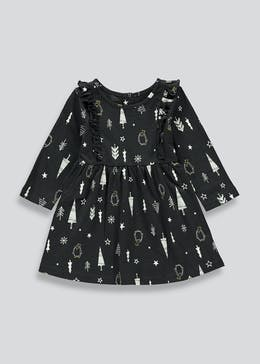 Girls Christmas Print Dress (Tiny Baby-23mths)