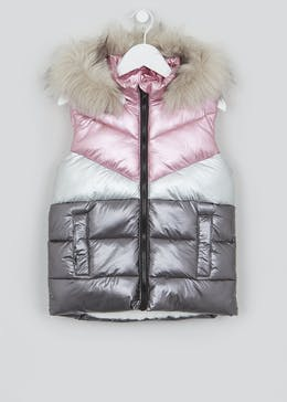 Girls Metallic Hooded Gilet (4-13yrs)
