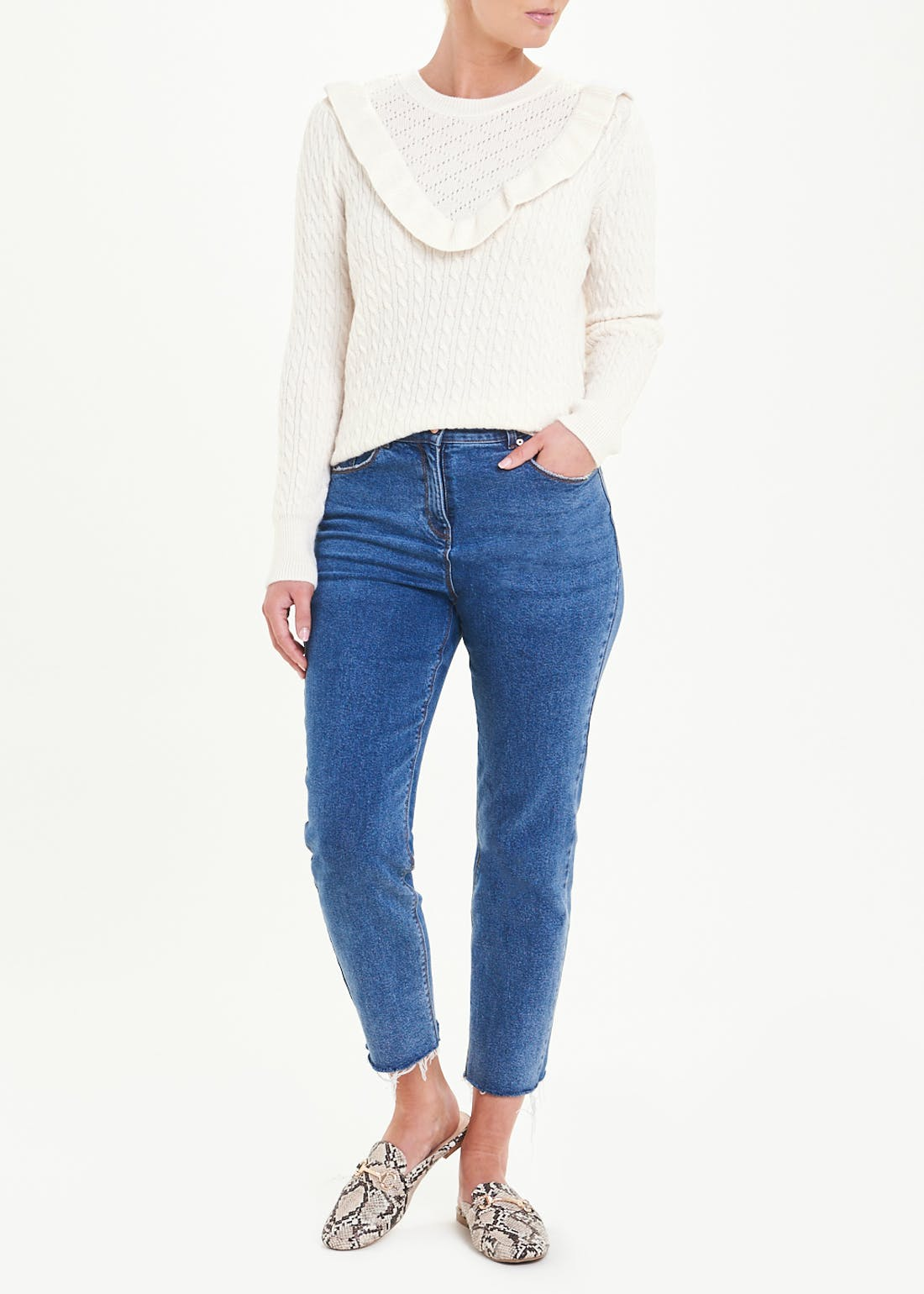 Frill Neck Cable Jumper
