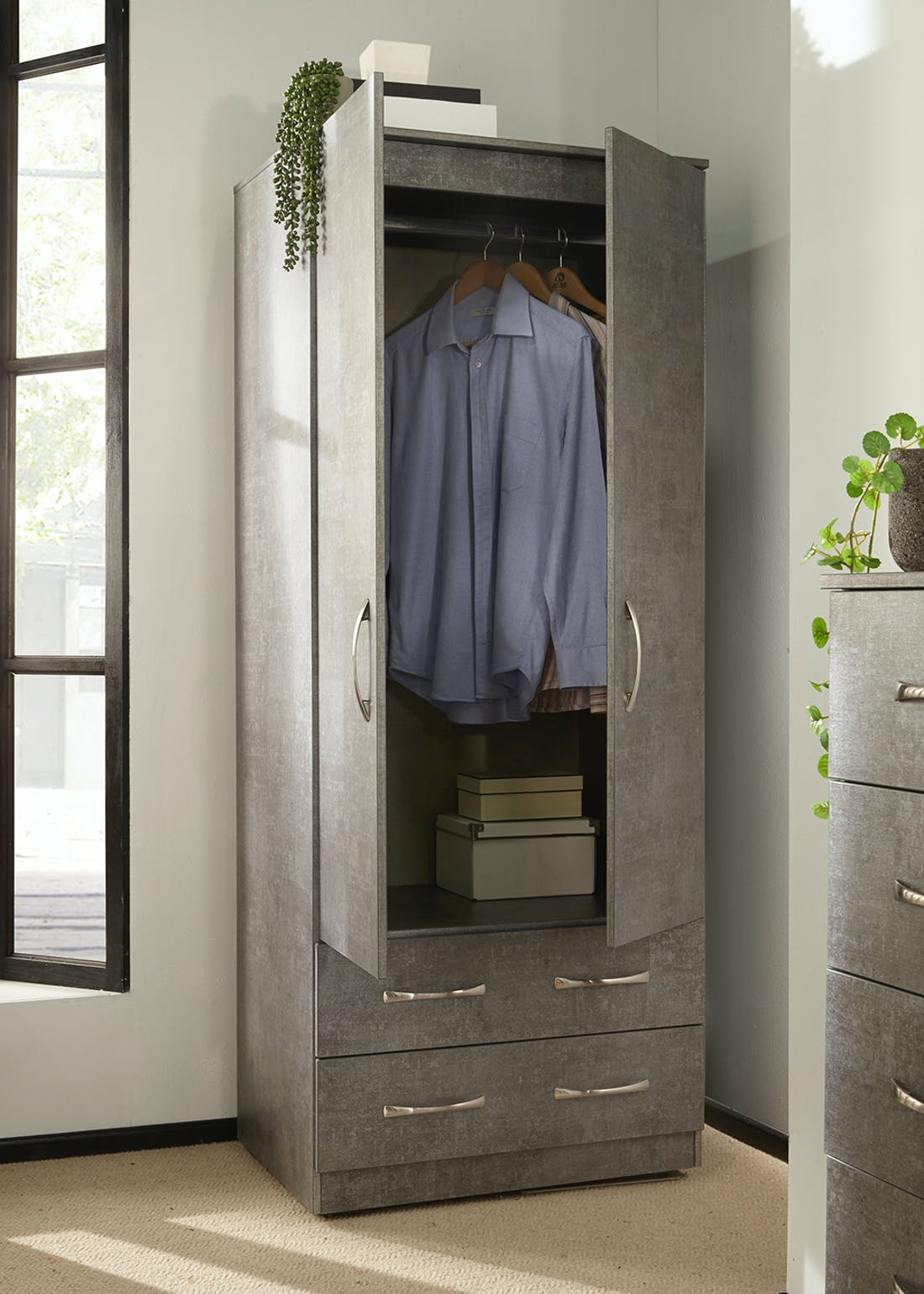 Swift Roma 2 Drawer Wardrobe (182.5cm x 74cm x 53cm)