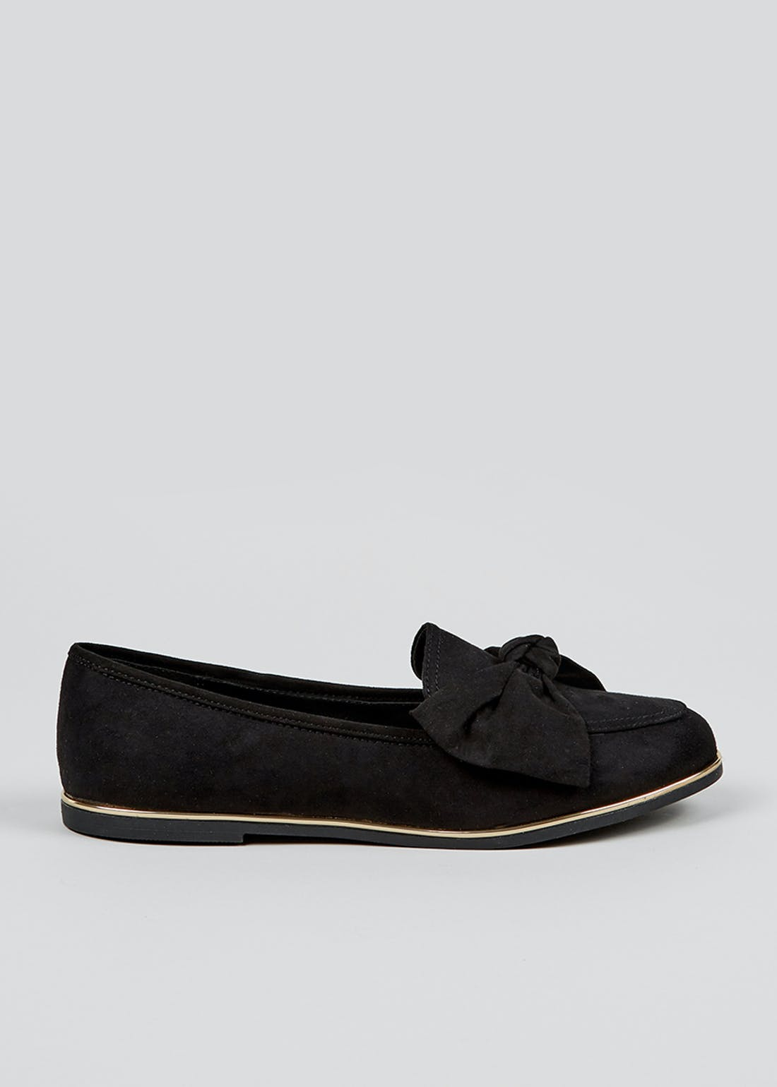 Black Wide Fit Bow Loafers