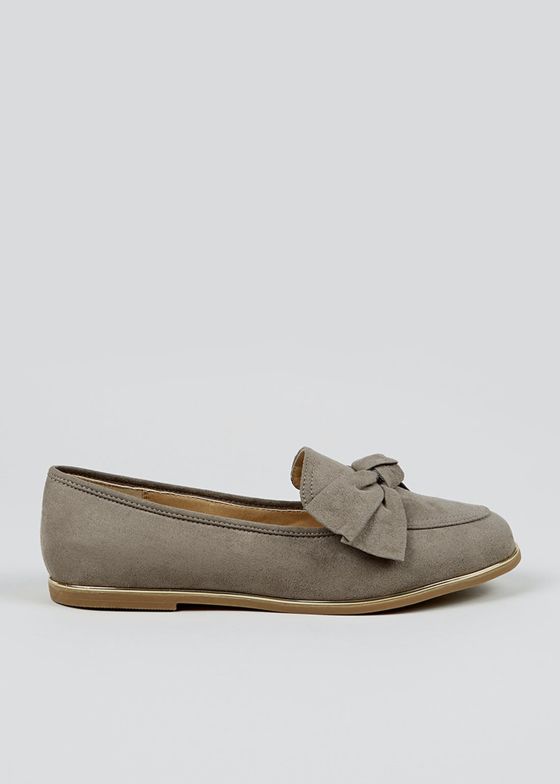 Grey Wide Fit Bow Loafers