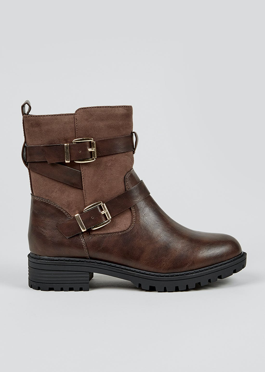 Brown Wide Fit Biker Boots