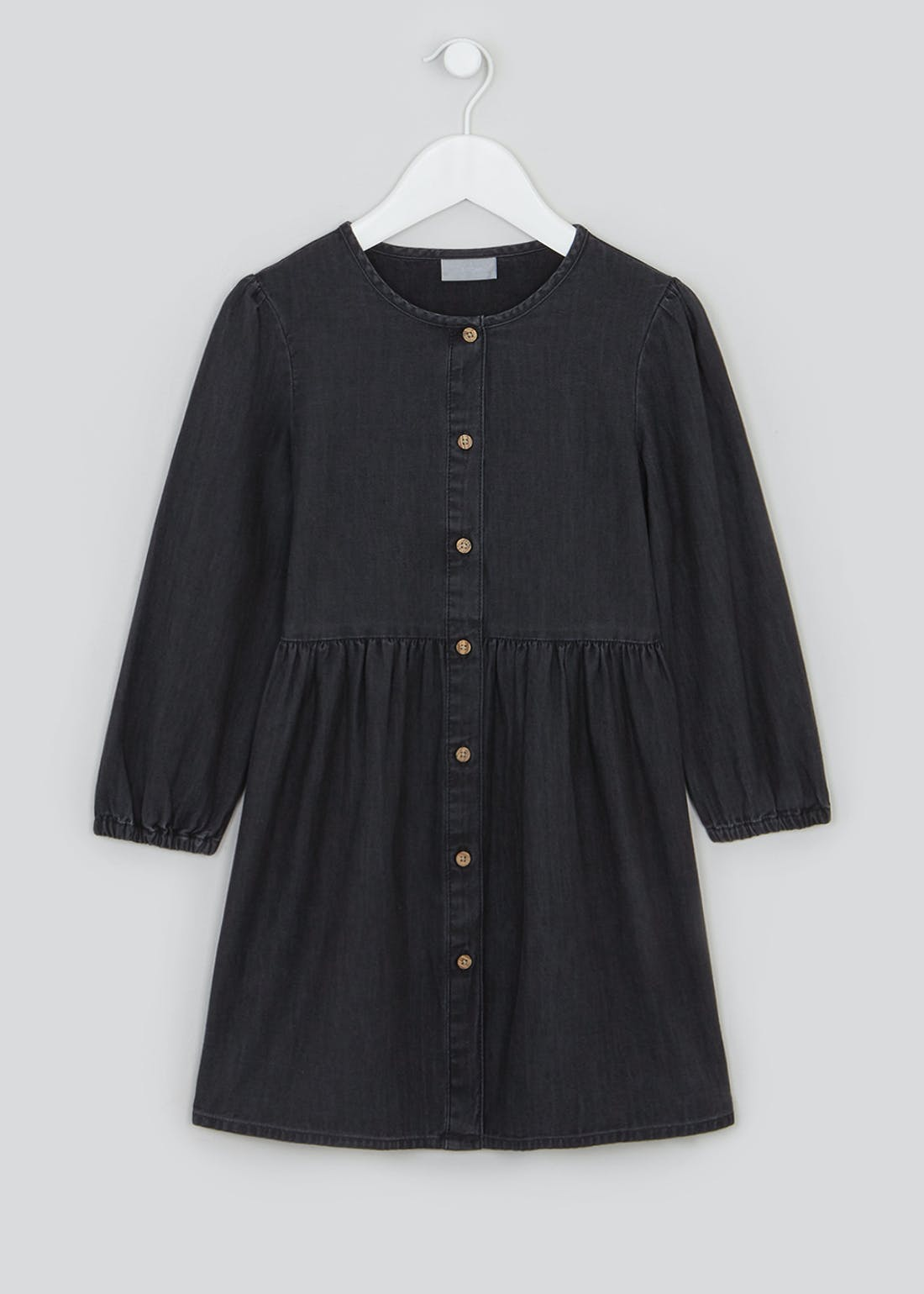 Girls Black Long Sleeve Denim Dress (4-13yrs)