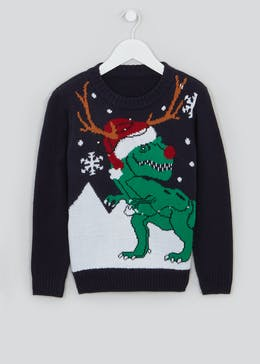 Boys Dinosaur Light Up Christmas Jumper (4-10yrs)