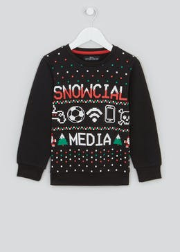 Boys Snowcial Media Christmas Jumper (4-13yrs)
