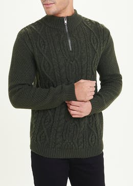 Quarter Zip Cable Knit Jumper