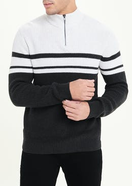 Quarter Zip Ribbed Jumper