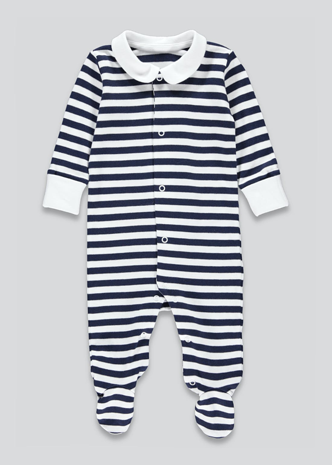 Unisex Stripe Collared Baby Grow (Tiny Baby-12mths)