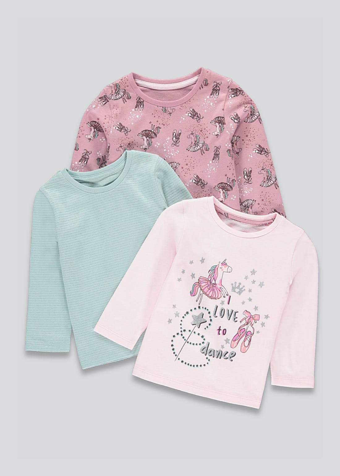 Girls 3 Pack Love to Dance Long Sleeve T-Shirts (9mths-6yrs)