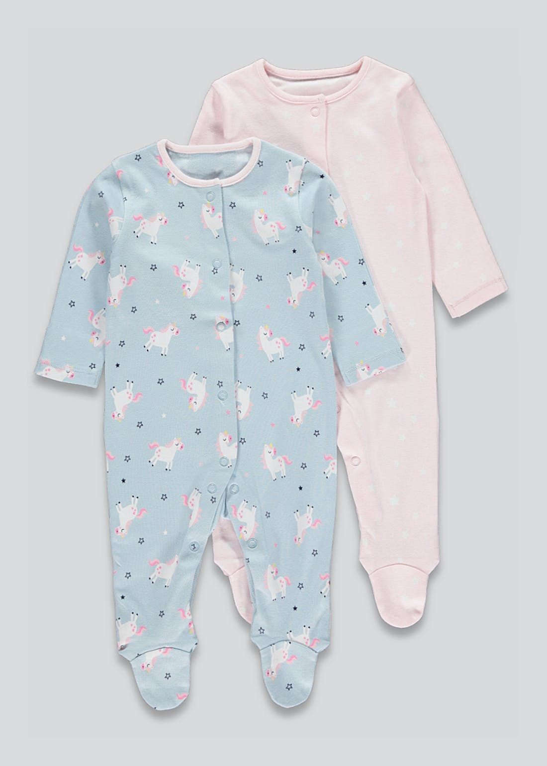 Girls 2 Pack Unicorn Sleepsuits (Newborn-23mths)