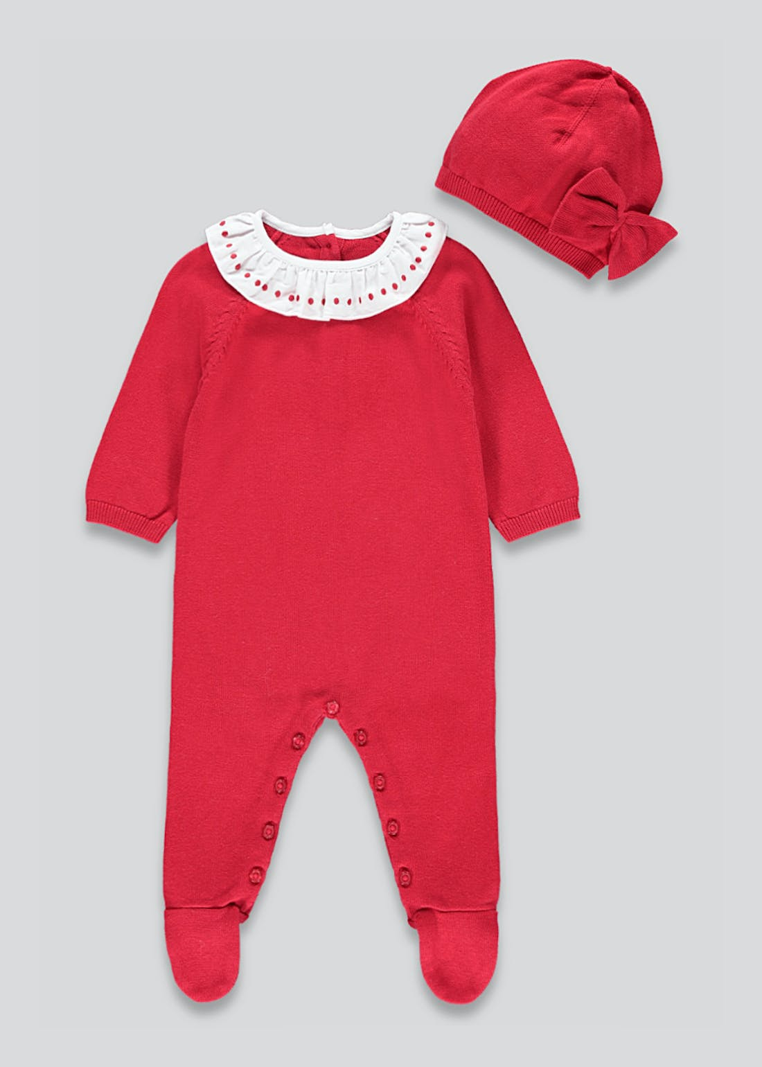 Girls Knitted Frill Romper and Hat Set (Tiny Baby-23mths)