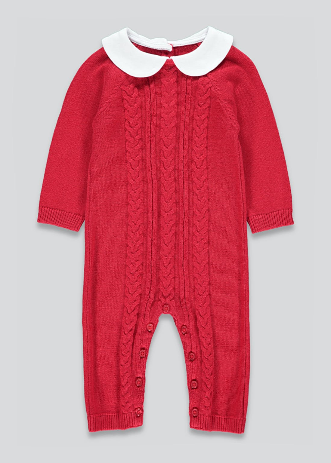Girls Cable Knitted Baby Grow (Tiny Baby-23mths)