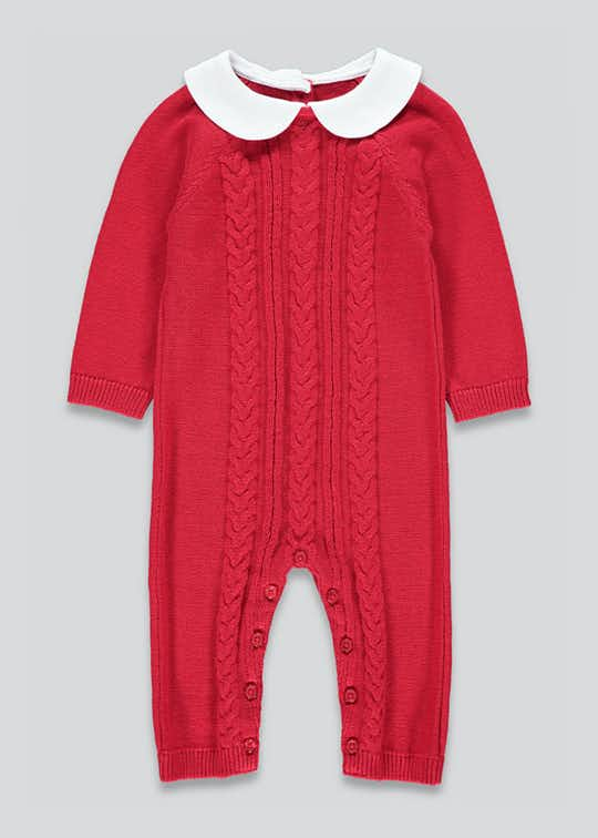 Unisex Cable Knit Baby Grow (Tiny Baby-23mths)