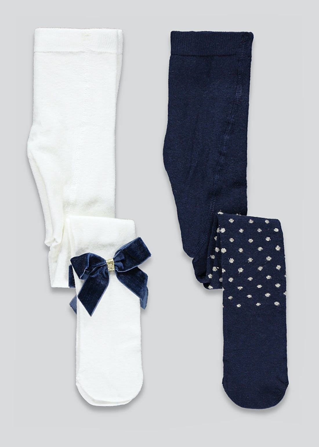 Girls 2 Pack Sparkle Bow Tights (Newborn-23mths)
