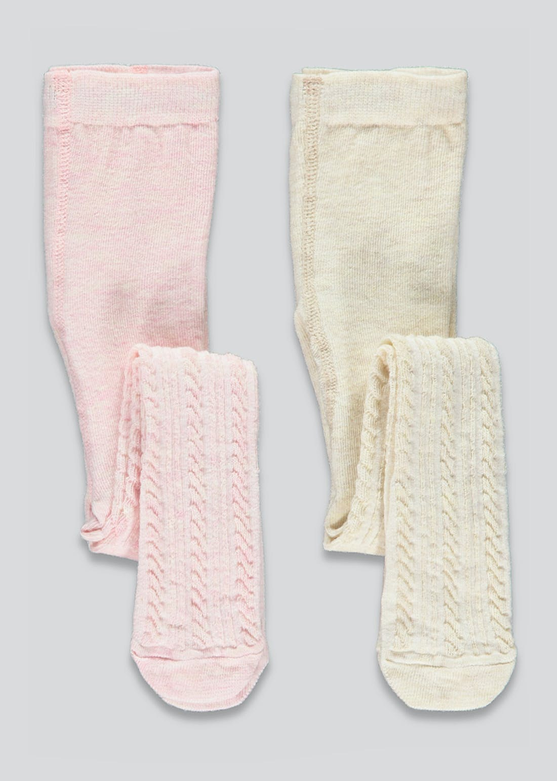 Girls 2 Pack Cable Tights (Newborn-23mths)