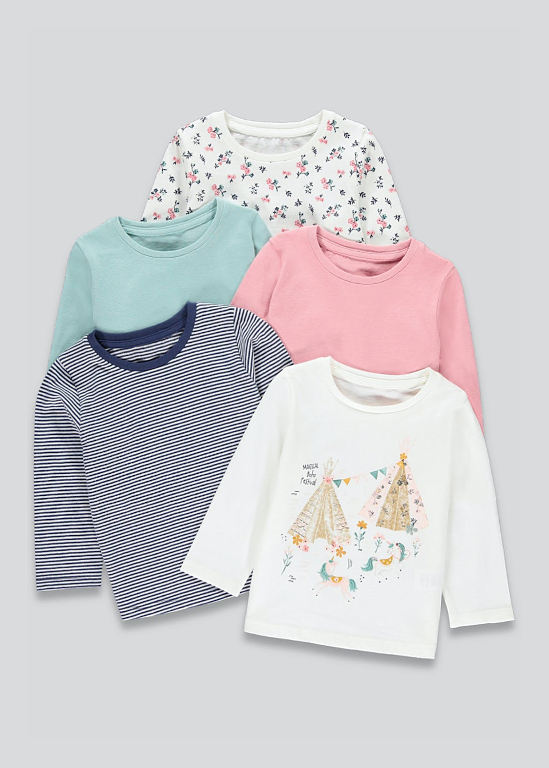 Girls 5 Pack Printed Long Sleeve T-Shirts (9mths-6yrs)