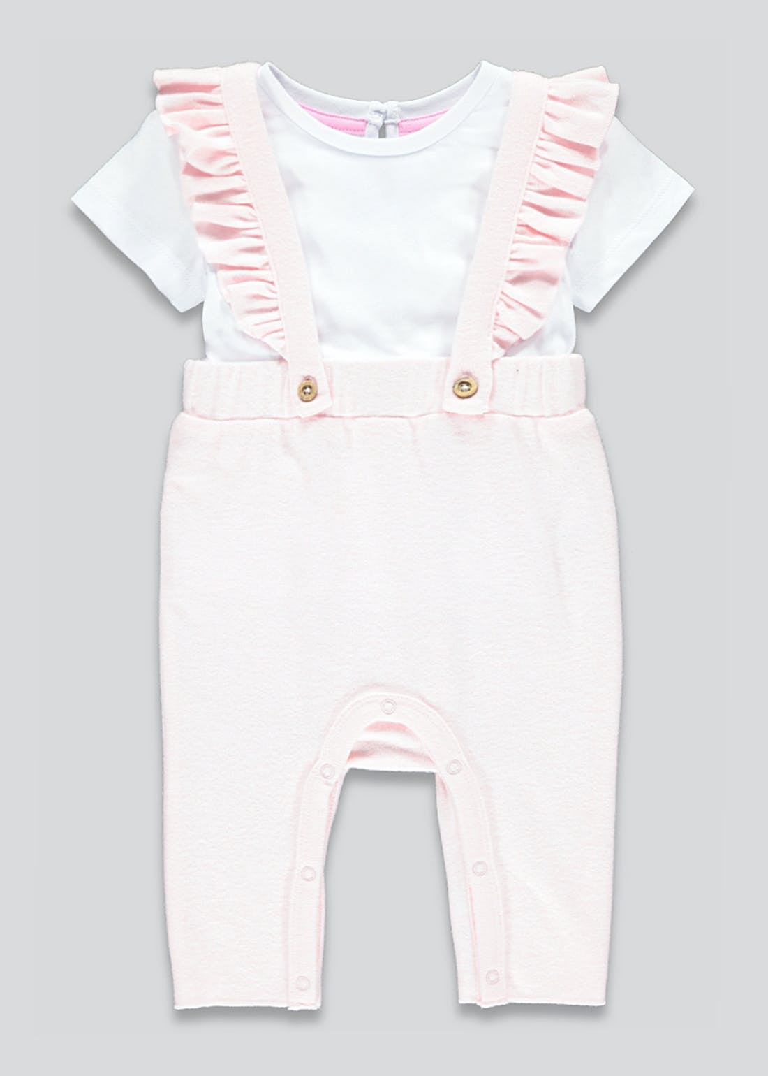Girls Frill Dungarees & Top Set (Tiny Baby-23mths)