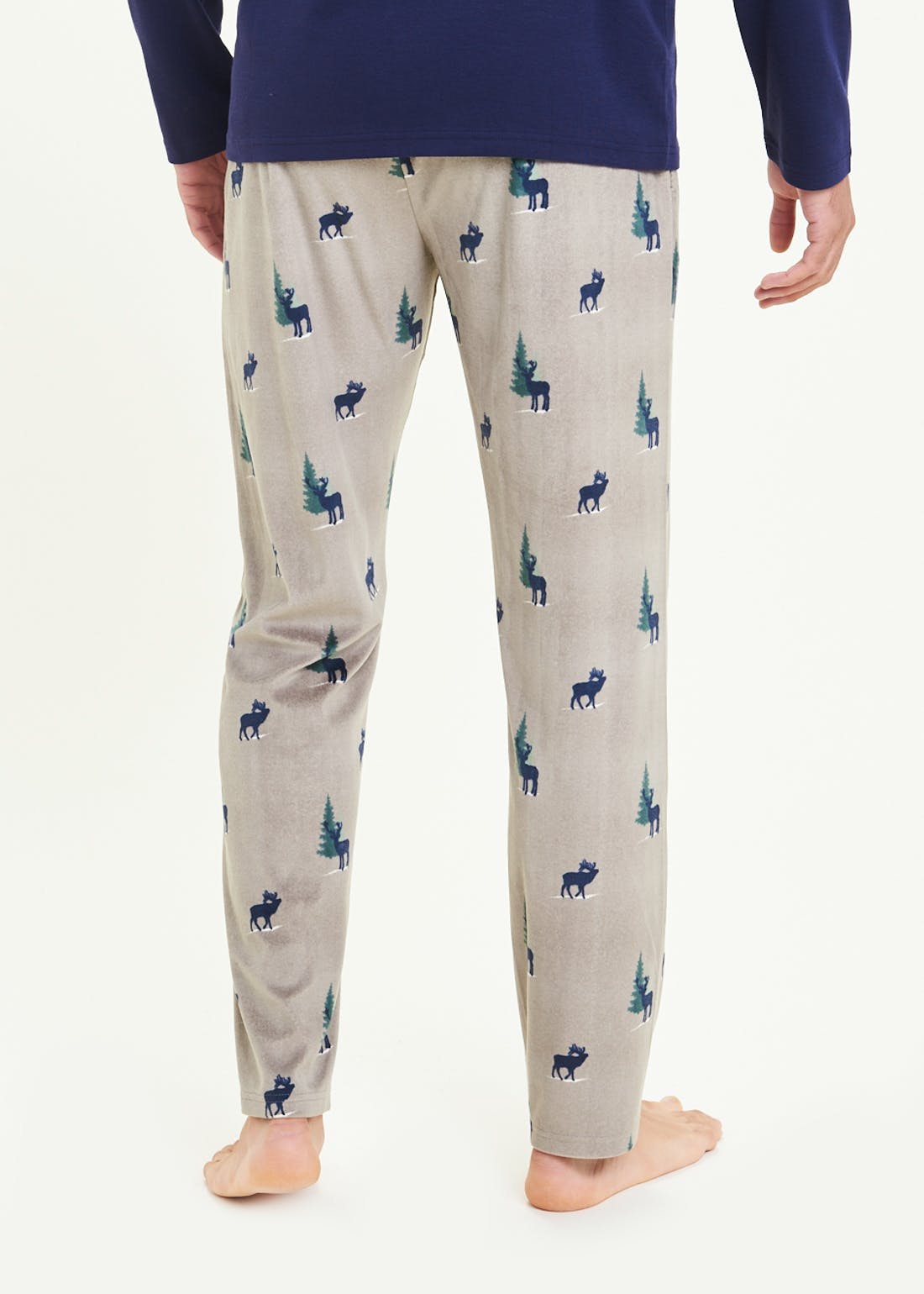 Silky Fleece Reindeer Print Pyjama Bottoms