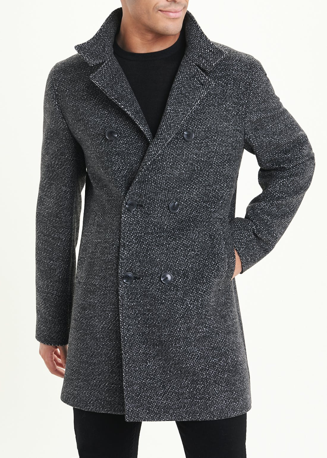 Double Breasted Funnel Neck Coat