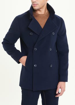 Navy Double Breasted Funnel Neck Coat