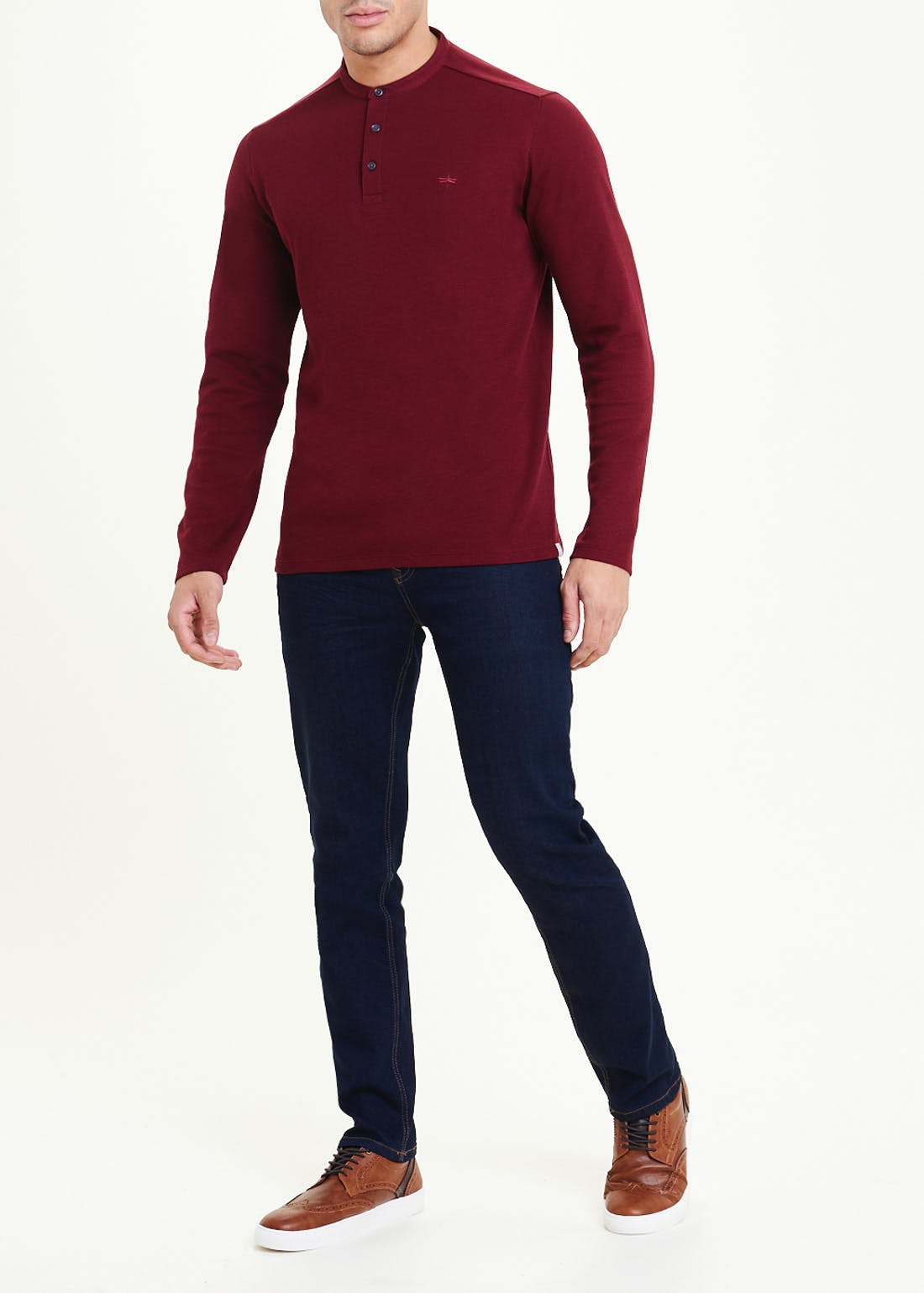 Long Sleeve Grandad Collar Top