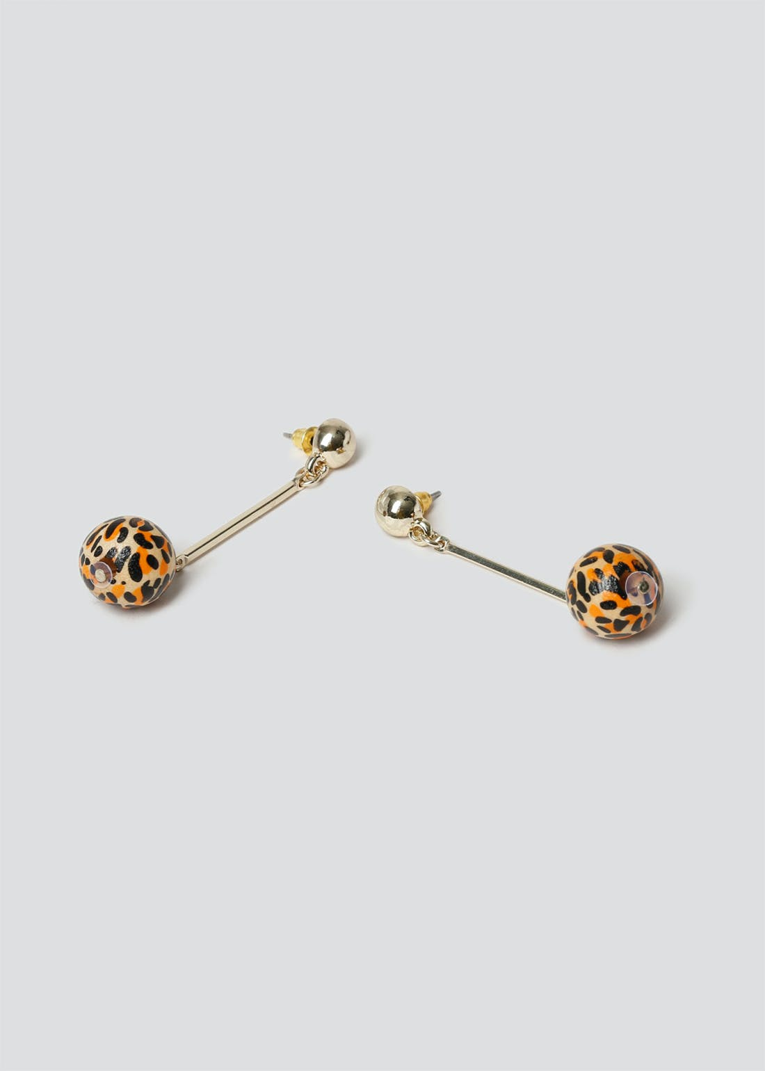 Leopard Ball Stick Drop Earrings.
