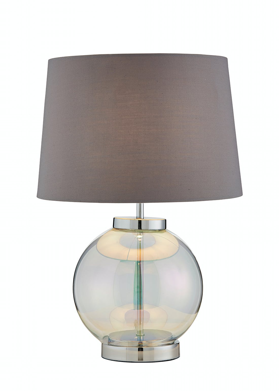 Iridescent Glass Base Table Lamp (H45cm x W31cm)